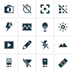 Picture icons set with automatic, edit, broken image and other tree  elements. Isolated vector illustration picture icons.
