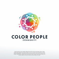 Colorful People Group logo vector, Community logo designs template, design concept, logo, logotype element for template