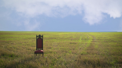 Royal throne in summer field