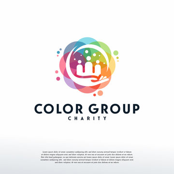 Colorful Group Care logo vector, Charity logo designs template, design concept, logo, logotype element for template