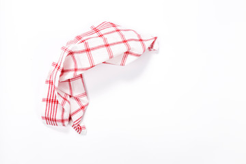 Checkered tablecloth isolated on white background