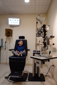 Young boy at an eye exam
