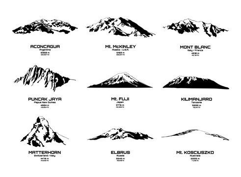 Outline vector illustration of highest mountains of continents