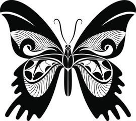 Urania Butterfly vector art stencil for tattoo or t-shirt print