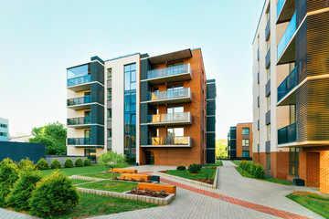 Modern new residential apartment house building complex outdoor facility bench Wall mural