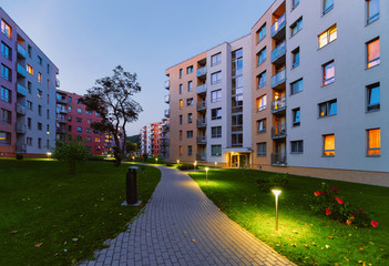 Modern residential apartment flat home building complex block outdoor