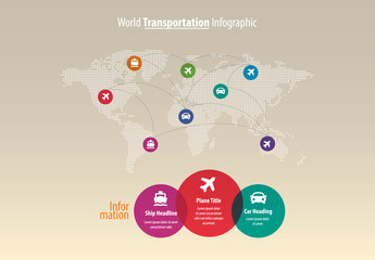 World Map Infographic Layout with Icons