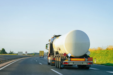 White Tanker storage truck at asphalt highway Poland