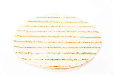 Empty tortilla background isolated on white
