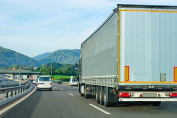 Truck in asphalt road of Poland