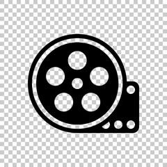 Film roll, old movie strip icon, cinema logo. Black symbol on tr