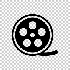 Film roll, old movie strip icon, cinema logo. Black symbol on tr