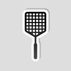 Fly swatter icon. Sticker style with white border and simple sha