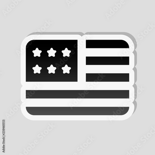 37e11c629ce simple USA flag icon. Rectangle shape. Sticker style with white ...