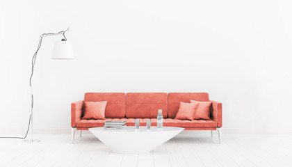 Living coral. The color of the New Year 2019. Neutral, bright interior room with a sofa, a table and a lamp. 3d illustration.