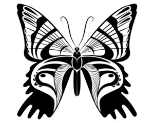 Urania ripheus Butterfly vector art stencil for tattoo or t-shirt print