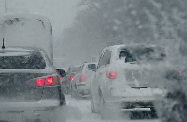Road conditions causes traffic trouble on the highway at heavy snowfall