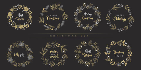 Set of Christmas wreaths. Unique design for greeting cards