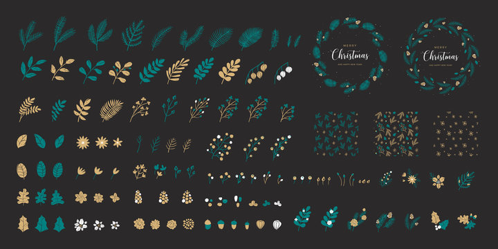 Set of Christmas elements for typographic design. Seamless patterns, leaves, branches, berries, pine cones and and templates of round wreaths