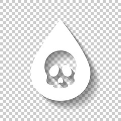 Drop of poison or acid with skull symbol. Icon of danger. White icon with shadow on transparent background