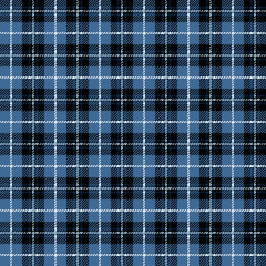 Winter Buffalo Plaid Seamless Pattern - Classic buffalo style plaid design in blue, black, and white