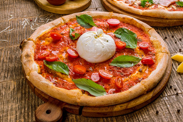 Pizza with burrata cheese