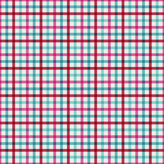 Pink and Blue Plaid Seamless Pattern - Whimsical plaid design in fun colors for Christmas