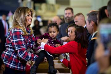 U.S. first lady Melania Trump makes Christmas season visit to Joint Base Anacostia-Bolling