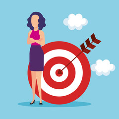 woman with target and arrow