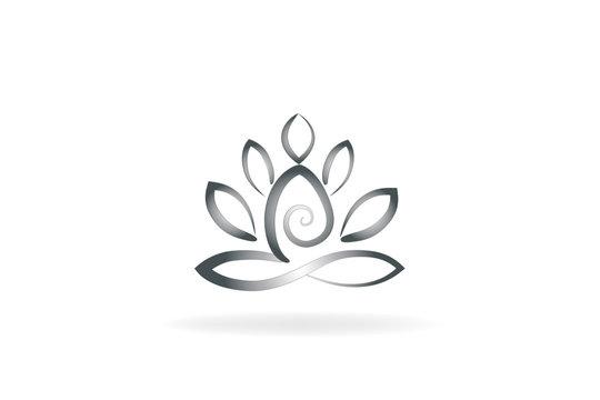 Logo yoga lotus flower vector image