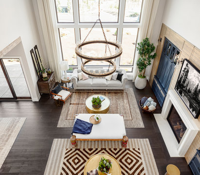 High angle view of modern living room at home