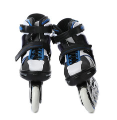 Pair of inline roller skates on white background