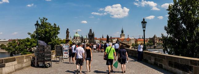 Tourist on Charles Bridge, Prague, Czech