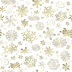 Abstract Christmas seamless pattern with golden snowflakes