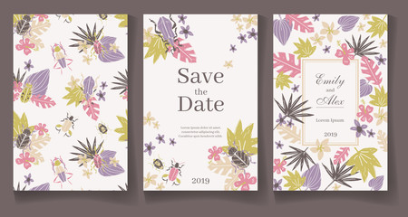 Ready wedding card template. Beautiful tropic plants and bugs. V