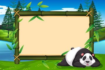 A panda on bamboo frame