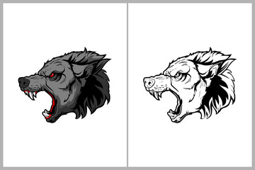 aggressive and angry wolf head vector