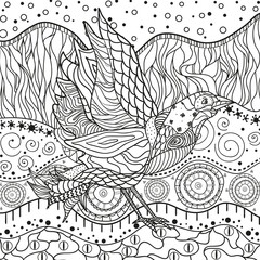 Abstract eastern pattern with bird on isolated white. Zentangle. Hand drawn abstract patterns on isolation background. Design for spiritual relaxation for adults. Black and white illustration