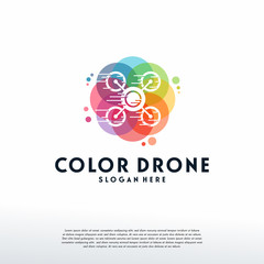Colorful Drone logo vector, Fast Drone logo designs template, design concept, logo, logotype element for template