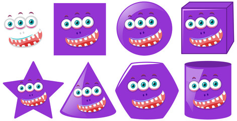 Set of monster face in different shapes