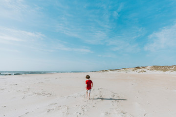 Rear view of boy walking at beach against blue sky during sunny day