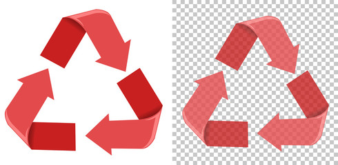 A red recycle sign