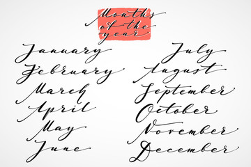 Months of the year by hand. Hand drawn creative calligraphy and brush pen lettering, design for calendars, posters, cards, and invitations. Elegant thin script months of the year.