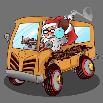 santa and weed truck