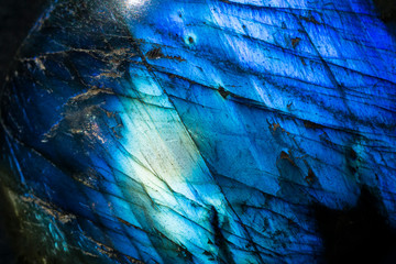 Macro photo of a cobalt blue crystal moonstone labradorite stone.