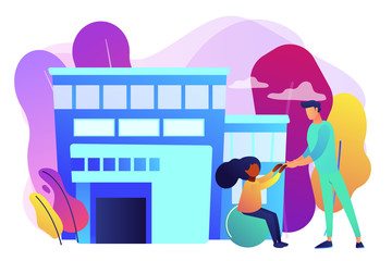 Physiotherapist and child gets treatment. Childrens rehabilitation centre, kids rehabilitation service, coordination and educational support concept. Bright vibrant violet vector isolated illustration