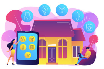 Business people controlling smart house devices with tablet and laptop. Smart home devices, home automation system, domotics market concept. Bright vibrant violet vector isolated illustration
