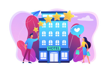 Business people with rating stars like the stylish boutique hotel. Boutique hotel, ultra-personalized service, high-end residential concept. Bright vibrant violet vector isolated illustration