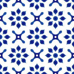 blue and white flower tile pattern