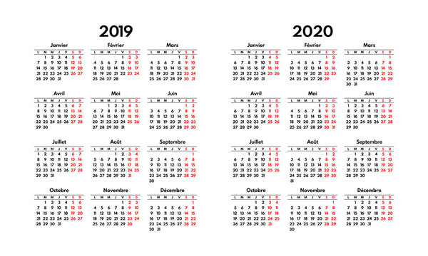 simple 2019 2020 french calendar grid, starts monday, two weekend